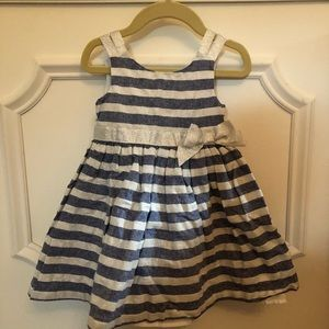 Tahari Blue and Silver Toddler Dress EUC 24 Months